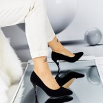 Pantofi cu Toc subtire QZL66A Black Mei