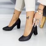 Pantofi cu Toc gros QZL128C Black Mei