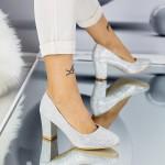 Pantofi cu Toc gros QZL128C Silver Mei