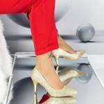 Pantofi cu Toc subtire QZL66D Gold Mei