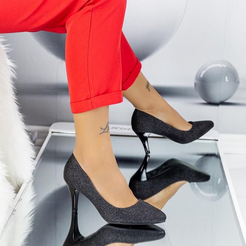 Pantofi cu Toc subtire QZL66D Black Mei