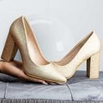Pantofi cu Toc gros TY6A Champagne Mei