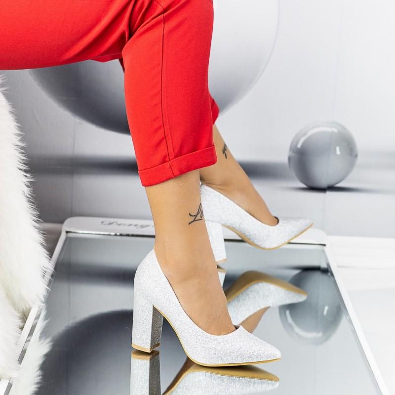 Pantofi cu Toc gros TY6A Silver Mei