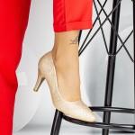 Pantofi cu Toc subtire QZL66D Champagne Mei