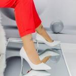Pantofi cu Toc subtire LLH21 Silver Mei