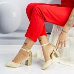 Pantofi cu Toc gros XD120 Gold Mei