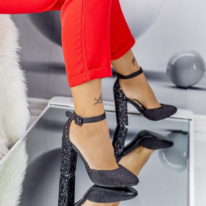 Pantofi cu Toc gros XKK151B Black Mei