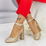 Pantofi cu Toc gros XKK151B Gold Mei