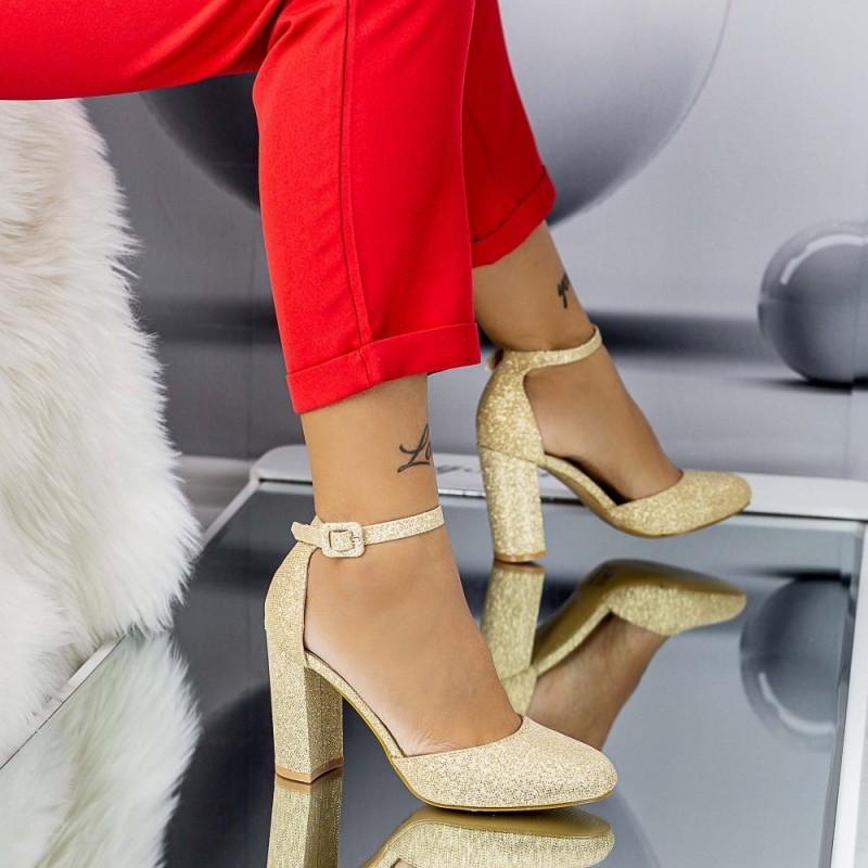 Pantofi cu Toc gros XD116 Gold Mei