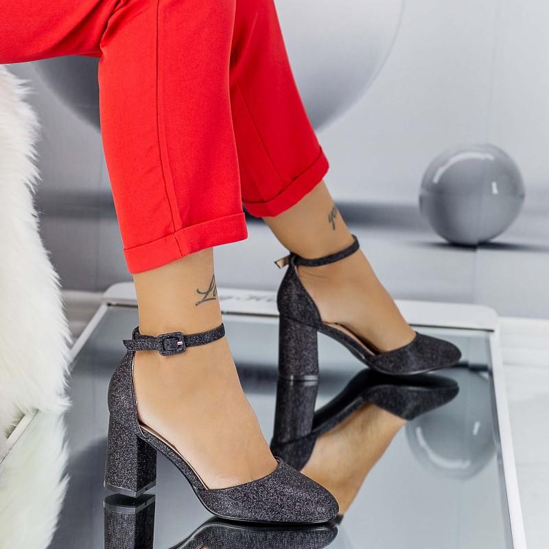 Pantofi cu Toc gros XD110A Black Mei