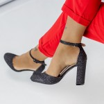 Pantofi cu Toc gros XD116 Black Mei