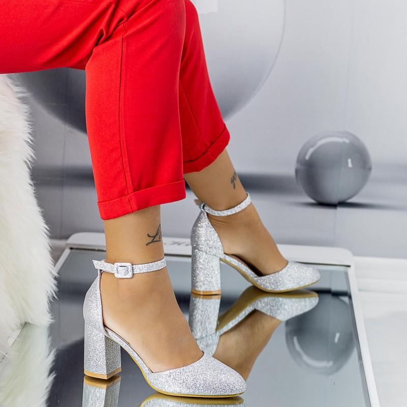 Pantofi cu Toc gros XD110A Silver Mei