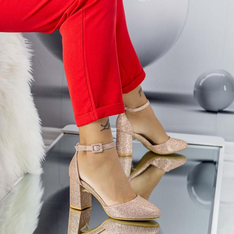 Pantofi cu Toc gros XD110A Champagne Mei