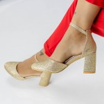 Pantofi cu Toc gros XD117B Gold Mei