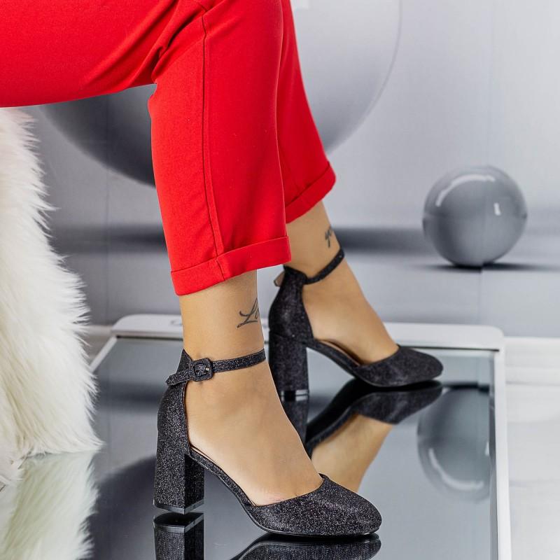 Pantofi cu Toc gros XD117B Black Mei