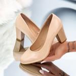 Pantofi cu Toc gros QZL25 Nude Mei