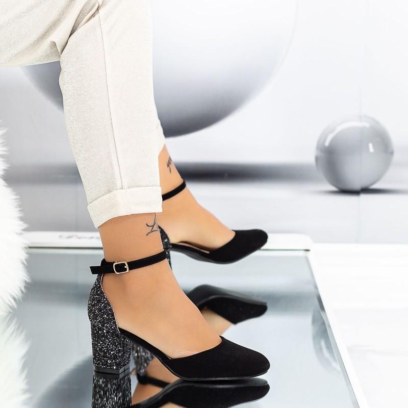Pantofi cu Toc gros XD111 Guncolor Mei