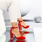Pantofi cu Toc gros XD116A Red Mei
