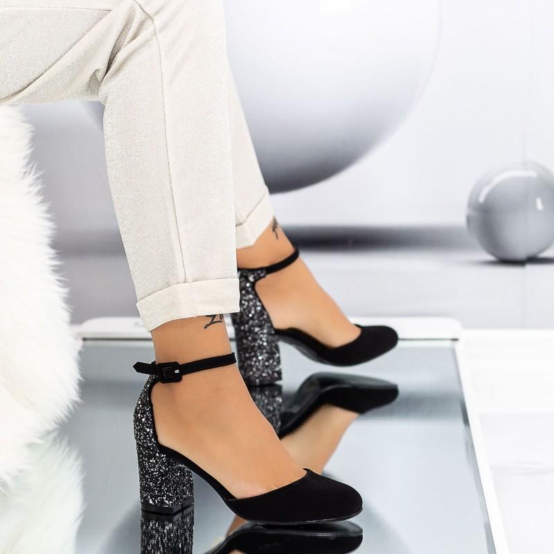 Pantofi cu Toc gros XD120A Guncolor Mei