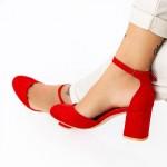 Pantofi cu Toc gros XD120C Red Mei