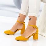 Pantofi cu Toc gros XD120C Yellow Mei
