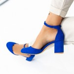 Pantofi cu Toc gros XD120C Blue Mei
