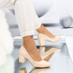 Pantofi cu Toc gros XD127 Beige Mei