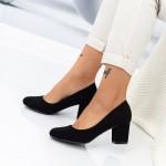 Pantofi cu Toc gros XD127 Black Mei