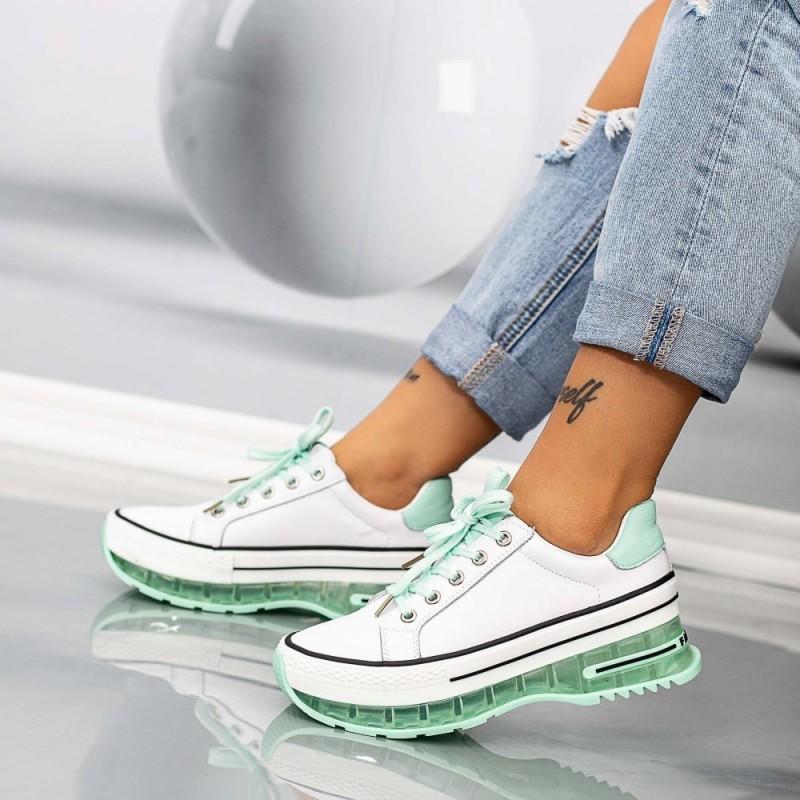 Pantofi Sport Dama SZ302 Alb-Verde Mei