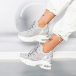 Pantofi Sport Dama cu Platforma YKQ233 Gri Mei
