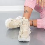 Pantofi Sport Dama cu Platforma YKQ233 Bej Mei