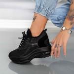 Pantofi Sport Dama cu Platforma YKQ232 Negru Mei