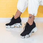 Pantofi Sport Dama cu Platforma WLGH61 Negru Mei