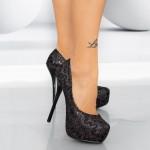 Pantofi cu Toc subtire 1082-2 Negru Mei