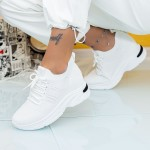 Pantofi Sport Dama cu Platforma KDN10 Alb Mei