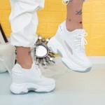 Pantofi Sport Dama cu Platforma WL1 Alb Mei