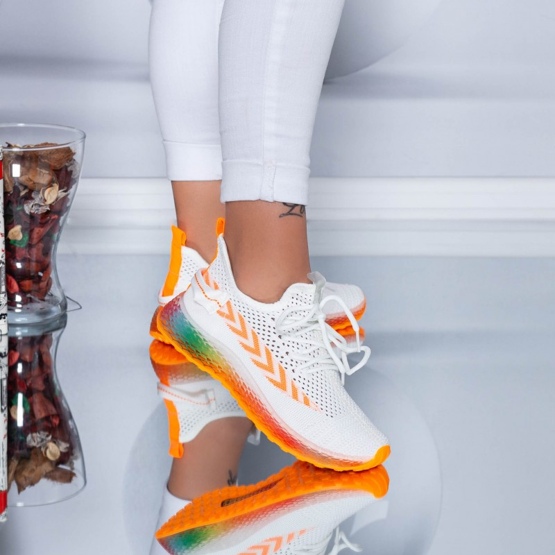 Pantofi Sport Dama YKQ198 White-Orange (K28) Mei