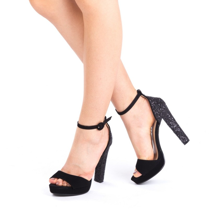 Sandale cu Toc si Platforma XD81B Black Mei