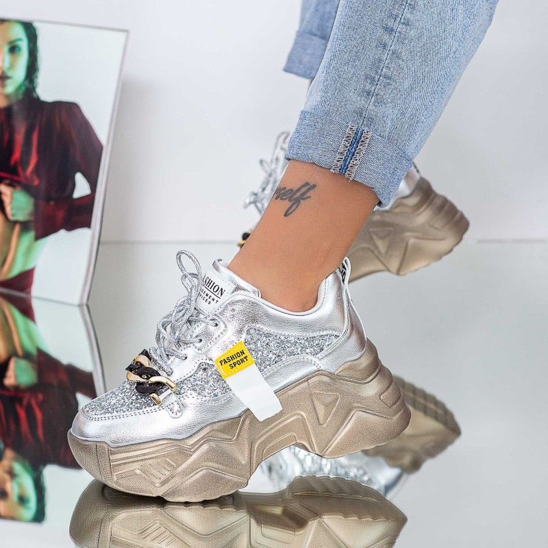 Pantofi Sport Dama cu Platforma 20A22 Argintiu Mei
