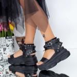 Sandale Dama cu Platforma WLJD3 Negru Mei