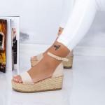 Sandale Dama cu Platforma FS29 Bej Mei