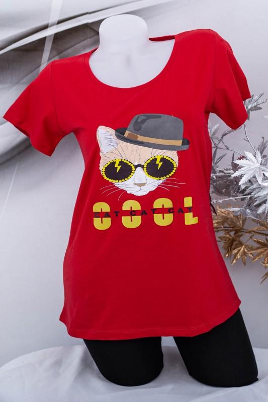 "Tricou Dama ""COOL CAT"" 1831 Rosu Fashion"