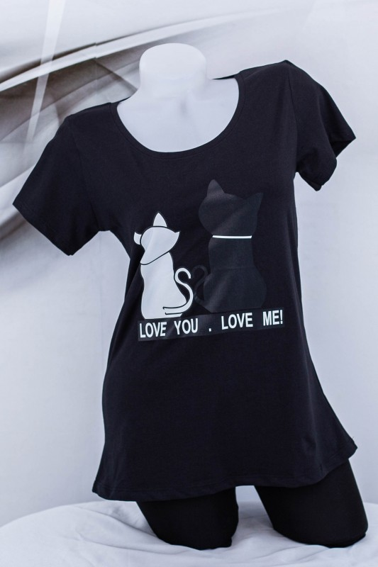 "Tricou Dama ""LOVE YOU, LOVE ME!"" 1830 Negru (G53) Fashion"