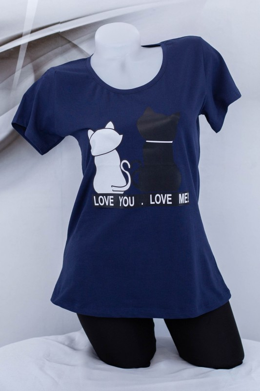 "Tricou Dama ""LOVE YOU, LOVE ME!"" 1830 Albastru inchis (G53) Fashion"