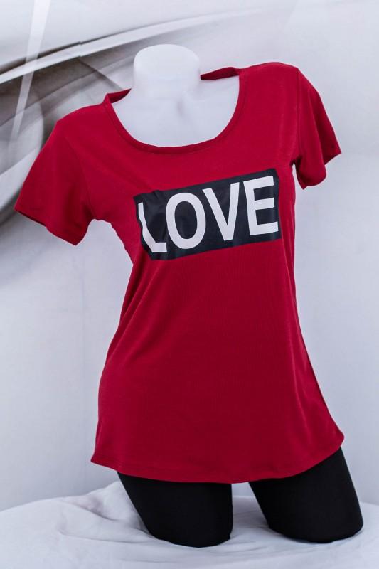"Tricou Dama ""LOVE"" 1832 Visiniu (G72) Fashion"