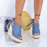 Sandale Dama cu Platforma FS25 Albastru Mei