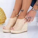 Sandale Dama cu Platforma FS25 Bej Mei