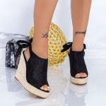 Sandale Dama cu Platforma FS25 Negru Mei