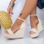 Sandale Dama cu Platforma FS26 Bej Mei