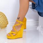 Sandale Dama cu Platforma HXS18 Galben Mei